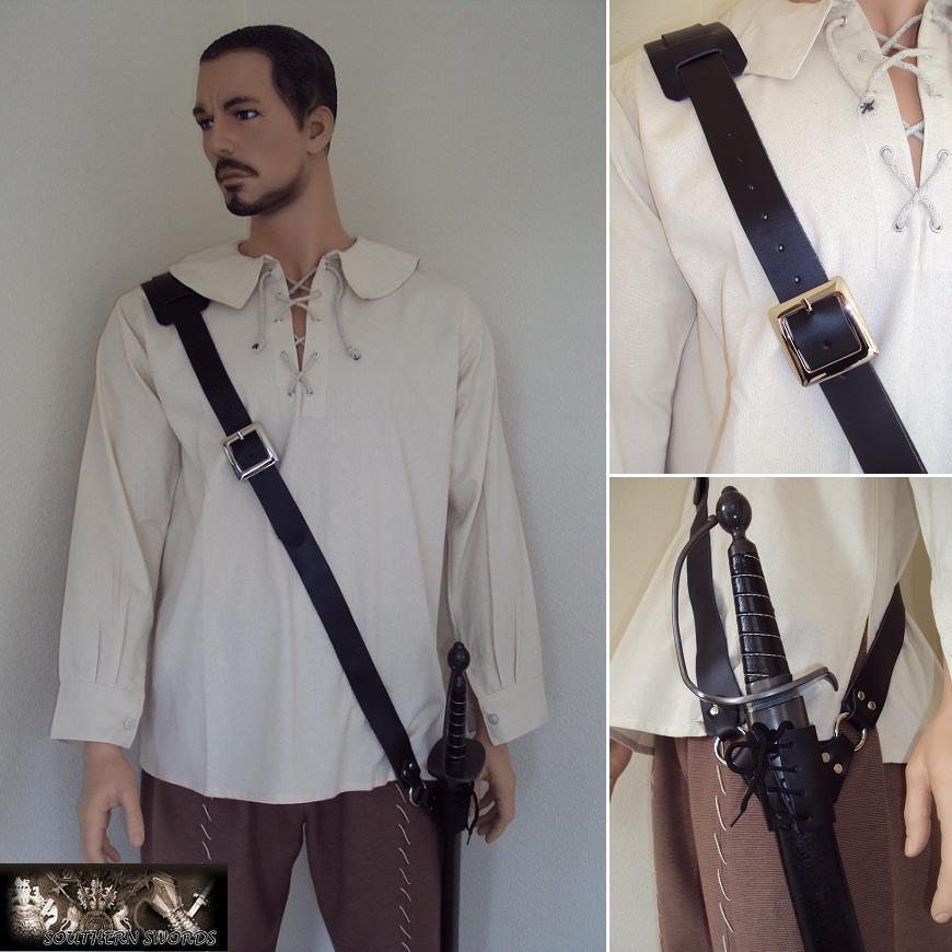 black leather sword baldric with adjustable frog