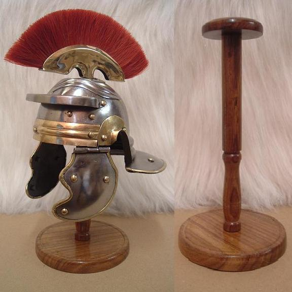 mini roman legionnaires helmet and stand