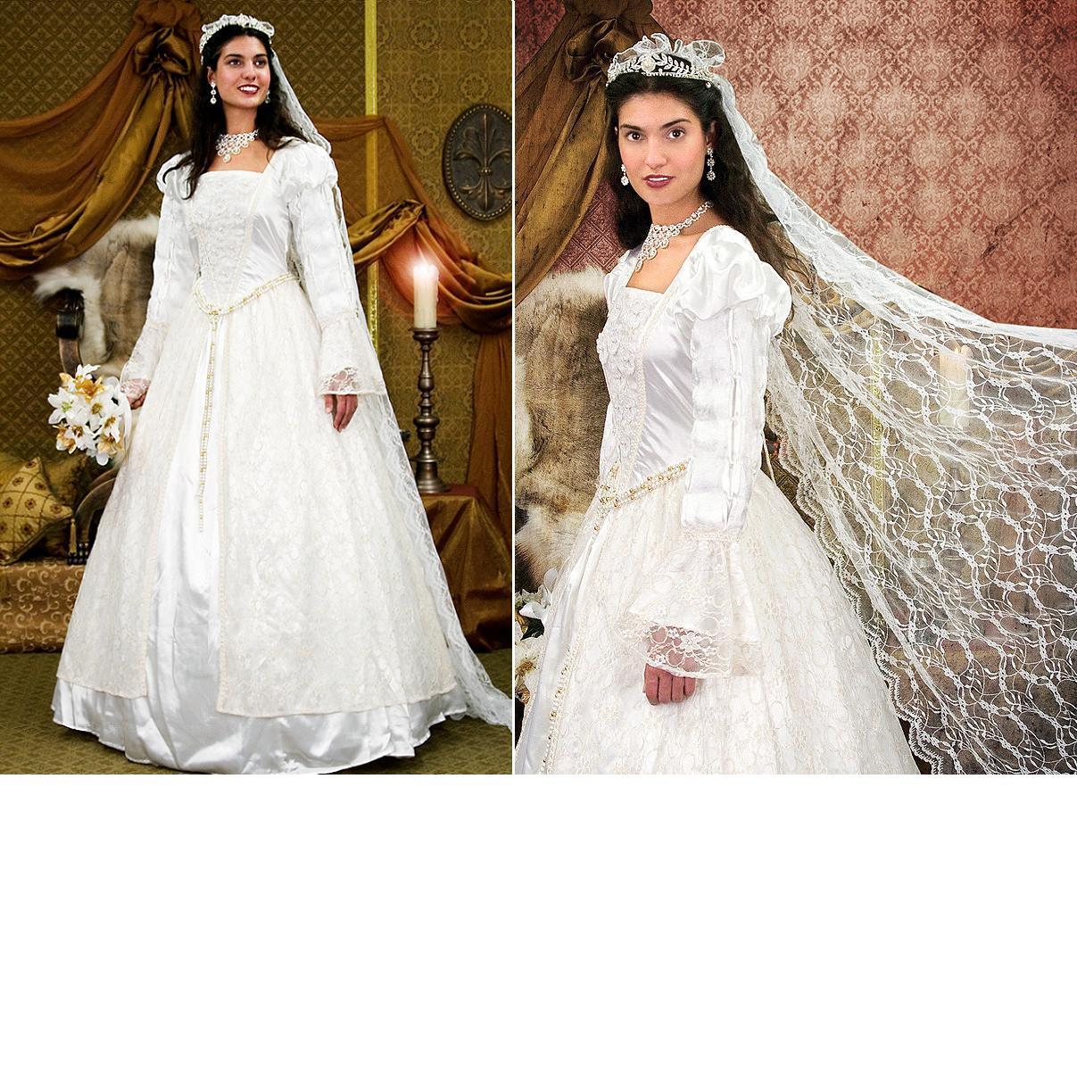 Medieval Wedding Dress Bridal Gown Silk Wedding Dress: Renaissance Wedding Gown & Veil