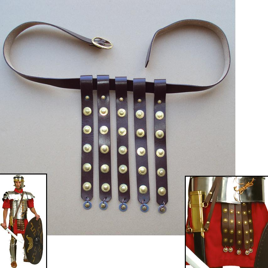 roman brown leather soldiers belt