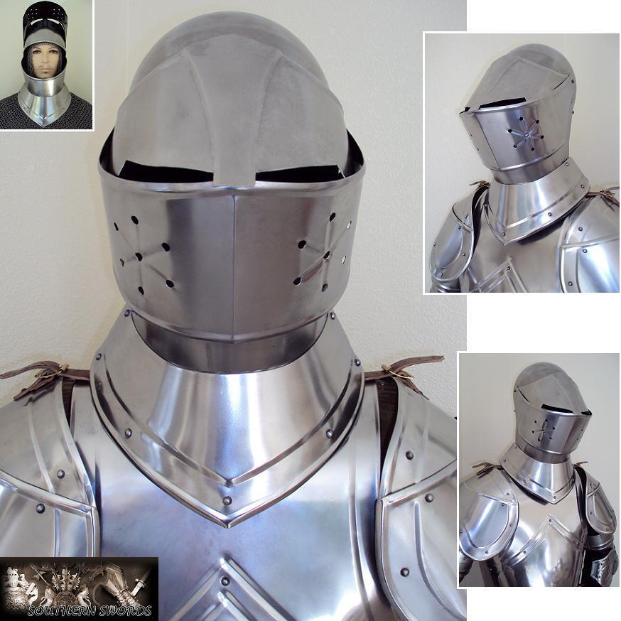 15th Century English Bascinet Helmet - 18 Gauge