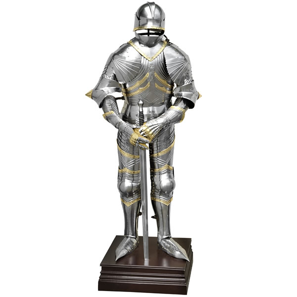 Gothic Suit Of Armour With Sword And Heavy Base
