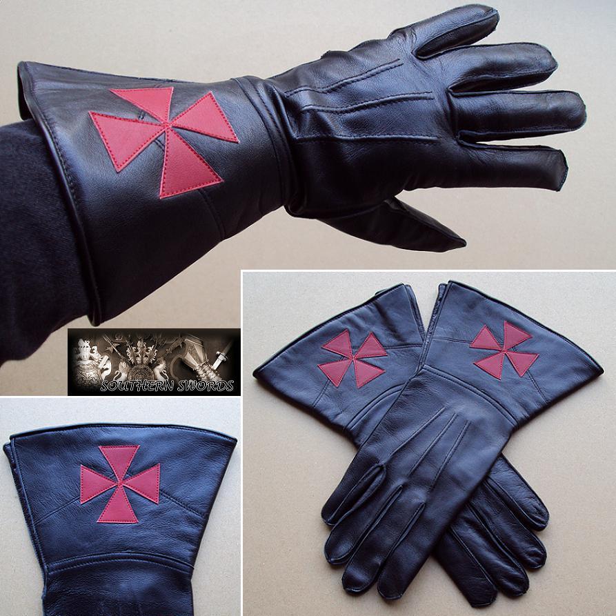 & Knights Templar Black Leather Gauntlets