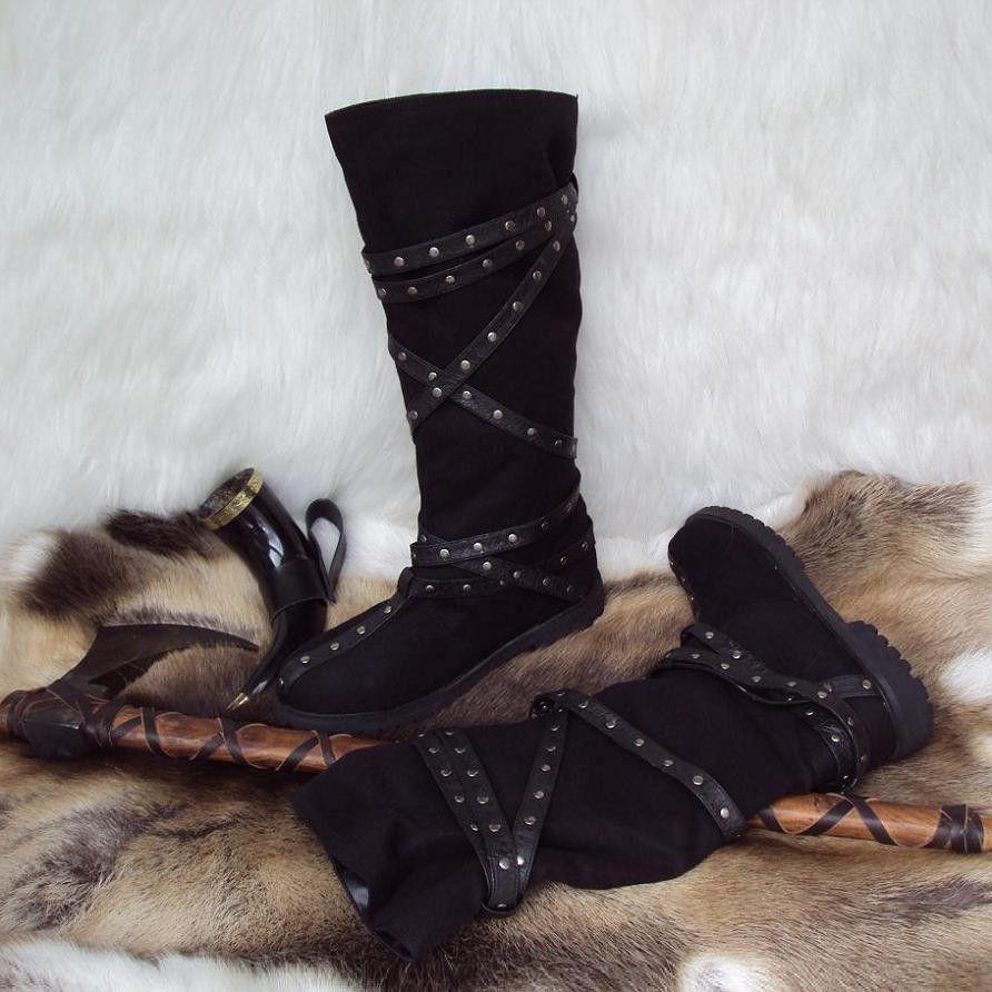 50c0b9fbfb6 Medieval Calf High Brown Warrior Boots