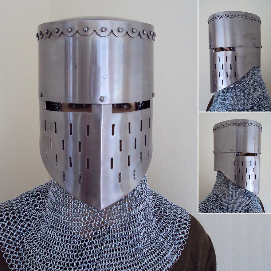 Medieval Knight Crusader Helmet 16 Gauge