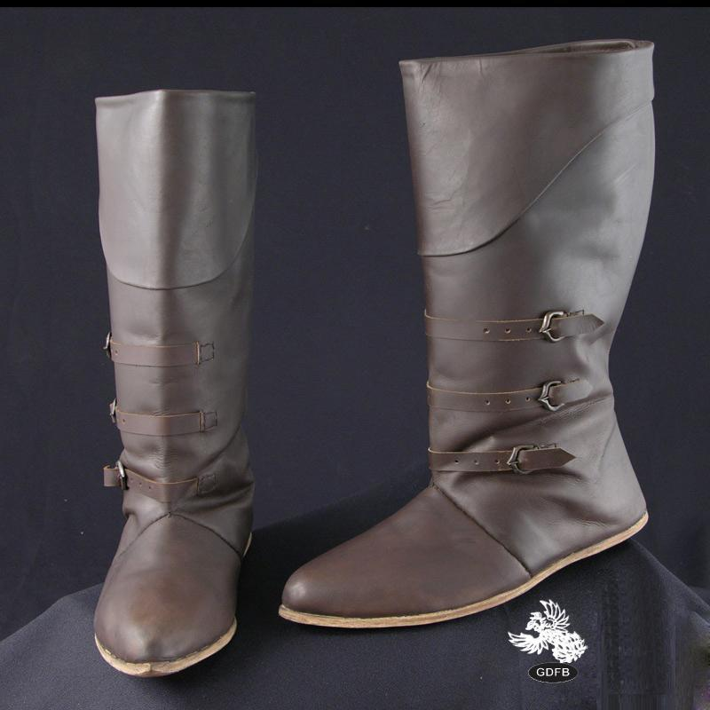 Mid Calf Leather Medieval Boots