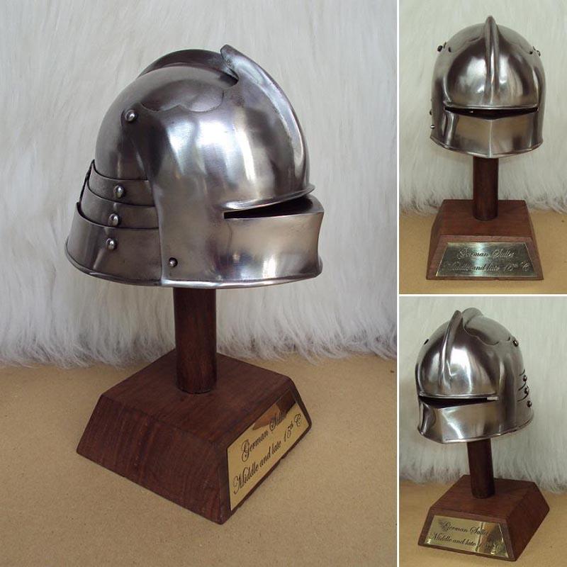 Miniature Sallet Helmet On Wooden Display Stand