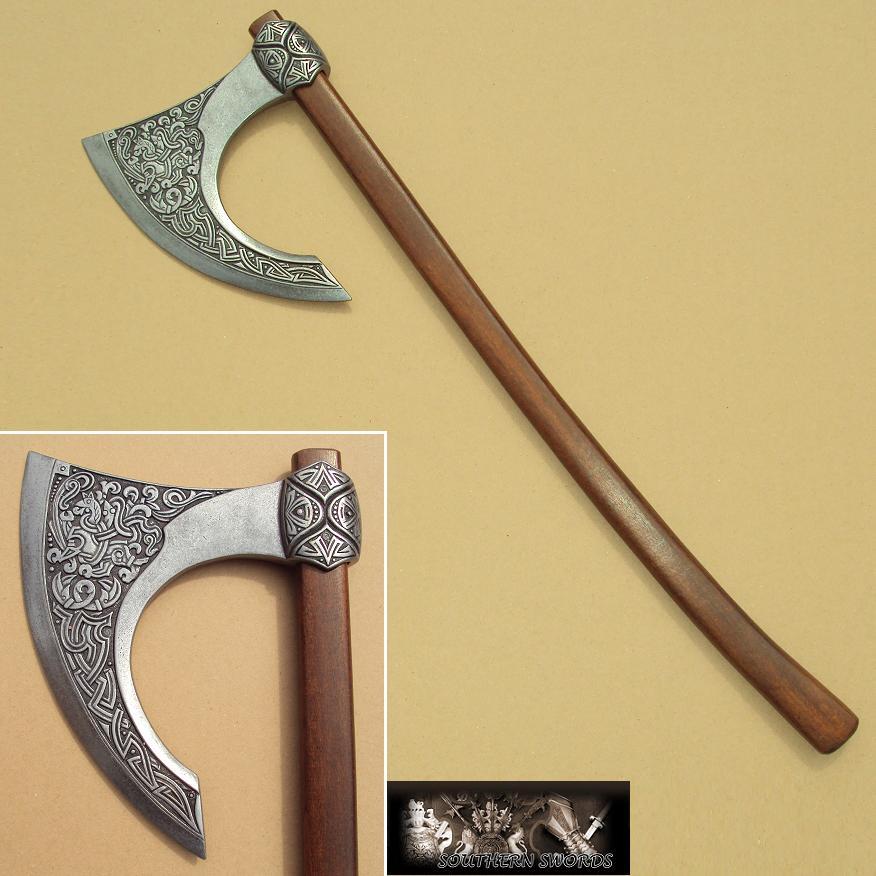 Viking Type Light Bearded Axe Hatchet With Handle Rare Shape